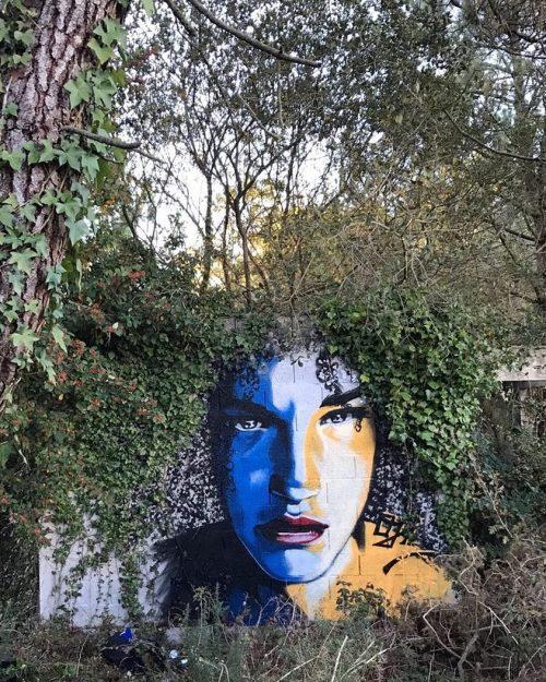 streetartglobal:  Here's a wall from French artist @ojidjo that uses nature's own art.http://globalstreetart.com/ojidjo#globalstreetart #ojidjo #wallart #trees #streetarteverywhere #sprayart #france https://www.instagram.com/p/BLwjxKjgIG8/