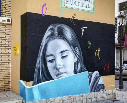 streetartglobal:  Beautiful new work by Spanish artist @xolaka - 'cultura sempre'. http://globalstreetart.com/xolaka#globalstreetart #xolaka #mural #wallart #streetarteverywhere #valencia #spain https://www.instagram.com/p/BKTj69SD4cD/