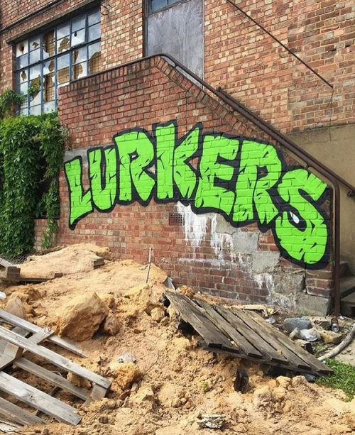 bizarrebeyondbelief:  Ninja turtle inspired lettering by @the_lurkers. #thelurkers #graffiti #streetart #teenagemutantninjaturtles