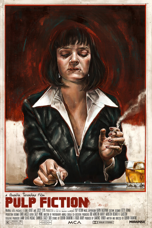 """kogaionon:Pulp Fiction by Robert Bruno / Behance / Facebook / Tumblr / Twitter / Instagram / Store 16"""" x 24"""" giclée print, edition of 100. Available here."""