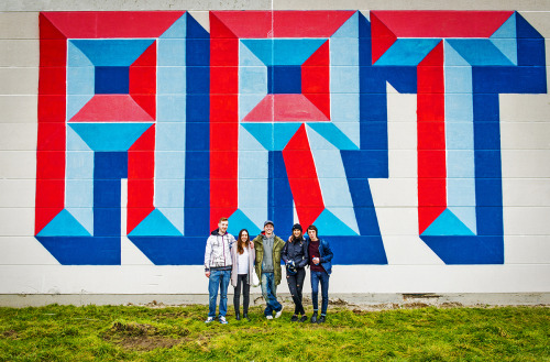 thcrstlshp:  Our production team and curator Bjørn Van Poucke in front of the gigantic letterpiece done by Mister Fiksit in Ostend! Picture by Arne Deboosere #loveoostende