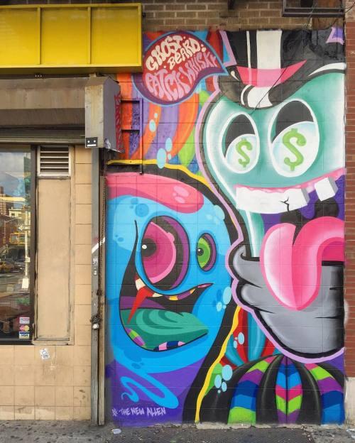 impermanent-art:  @patchwhisky x @ghostbeard for the @newallen_ny project. _________________________#patchwhisky #ghostbeard #thenewallen #mural #art #nycart #urbanart #publicart #streetart #streetartnyc #nycstreetart #lowereastside #manhattan #newyork #nyc #impermanentart (at Subway)