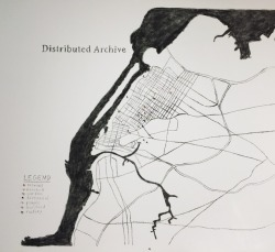 Map drawing for the Distributed Archive project by Lise Brenner at NURTUREArt.
