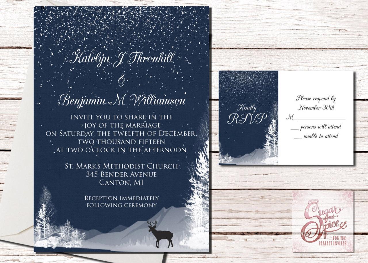5 christmas wedding invitations Winter Wedding Invitation Printable Christmas Wedding Invitations Winter Forest Deer Digital File