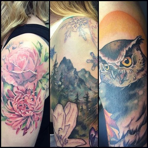 A few recent tattoos I hadn't posted. #flowers #mountians #owl #owltattoo #mountaintattoo #seasons #girlytattoo #softtattoo #owlsofinstagram (at Broad Street Tattoo Parlour)