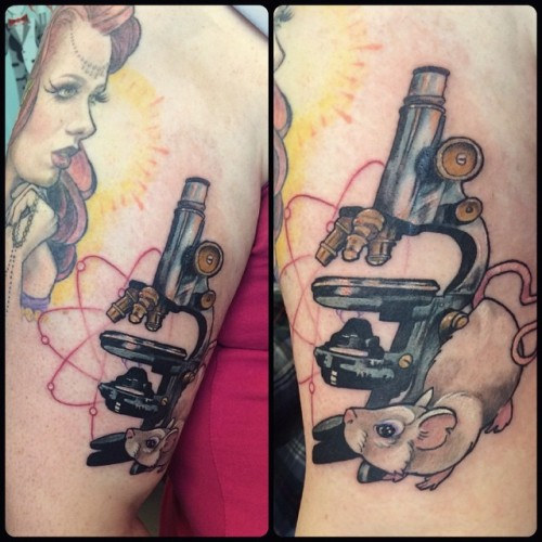 #microscope #labrat #atom #tattoo #tattoos #colortattoo @broadstreettattoo thanks steppe!