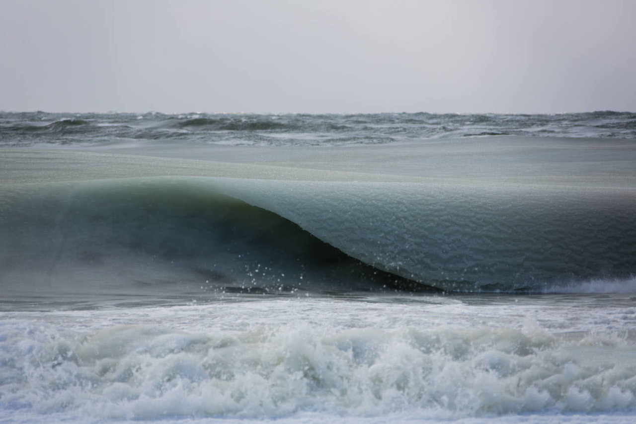 chickenstripclub:softwaring:Ice slush waves of Nantucket, the temperatures have been so cold lately in Nantucket that the waters have partially frozen giving them a slushee effect.Jonathan Nimerfrohomg