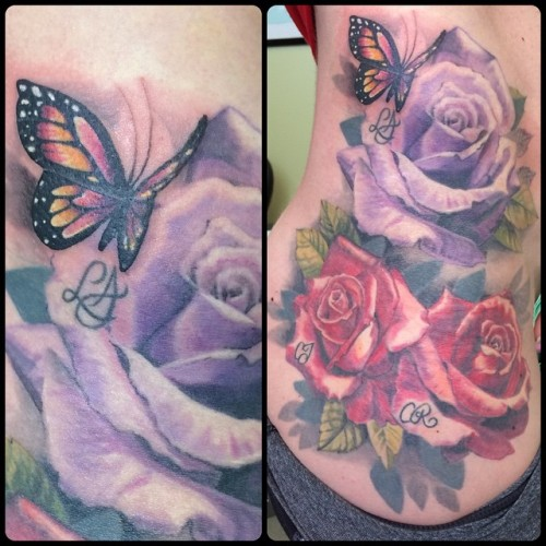 We added a lil' butterfly to this family rose tattoo. @broadstreettattoo #roses #butterfly #hiptattoo #colortattoo