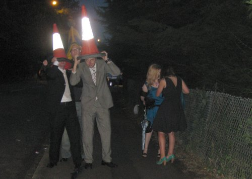 It's not a party unless you get a traffic cone.