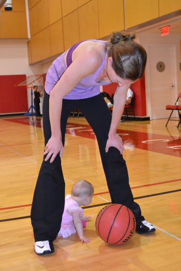 mommy and abby playing basketball