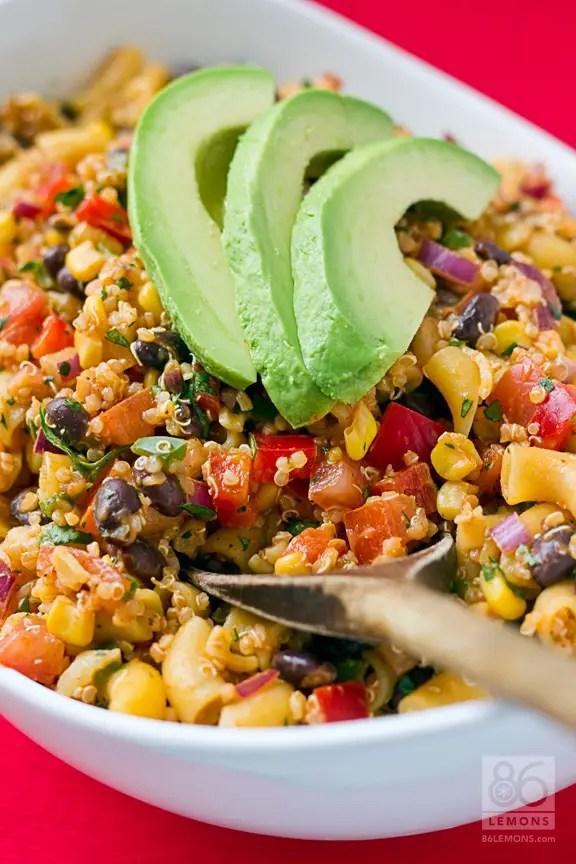 Southwest Quinoa Pasta Salad #vegan #glutenfree 86lemons.com