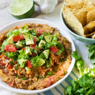 Easy layered vegan/GF Mexican dip. The Great Vegan Bean Book by Kathy Hester