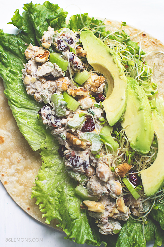 Cherry Chickpea Salad Wrap with creamy cashew dressing  #vegan #glutenfree (2)