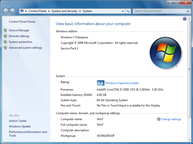 Windows Experience Index Generated in Windows 7