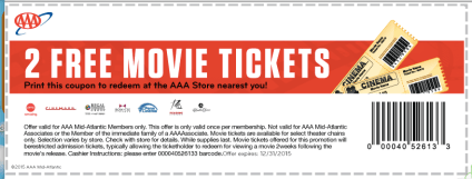 Get 2 Free Movie Tickets at AAA Mid-Atlantic