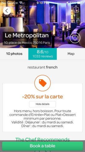 20 percent off dinner at Le Metropolitan Restaurant in Paris