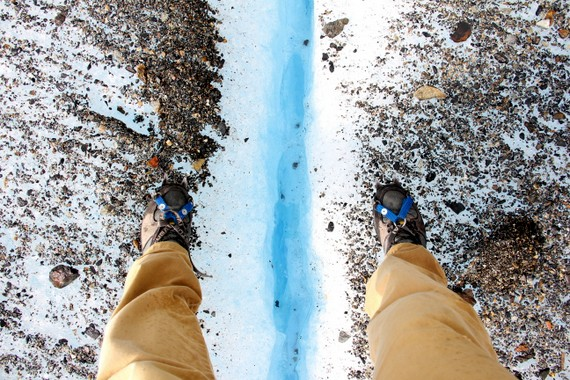 Mikes crampons at Big Ice hike Perito Moreno