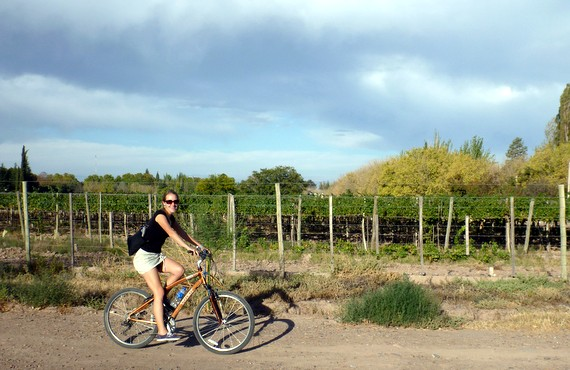 Anne Collins Howard biking through vineyards in Mendoza Argentina