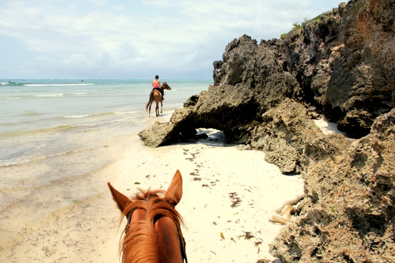 Horseback riding on the beach at Kinondo Kwetu, Kenya