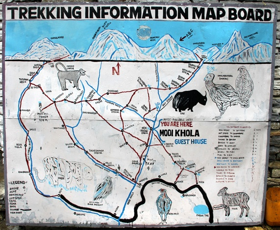 apurna Sanctuary Trail Map in Nepal