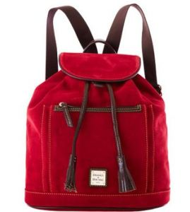 Dooney & Bourke Cherry Suede Backpack, www.dooney.com, $268.00
