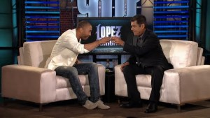Matt Kemp on Lopez Tonight. He shows athletes can be fashionable, wearing a custom Waraire Boswell blazer accessorized with a Lanvin flower lapel pin, heather grey Apparel Deep V-neck, Christian Louboutin Alfred flat lace-up shoes, and pair of RRL denim jeans. *Photo Credit: thechroniclemag