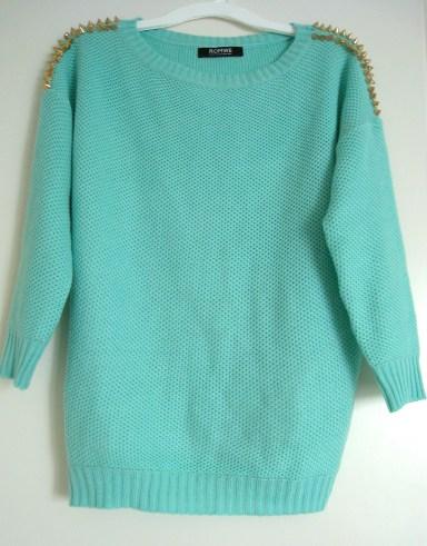 Mint studded jumper