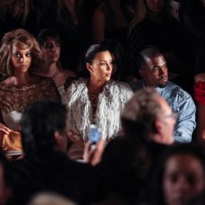 Sarah Hyland, Tyra Banks, Kim Kardashian, Kanye West, and Stacey Keibler front row at Marchesa F13