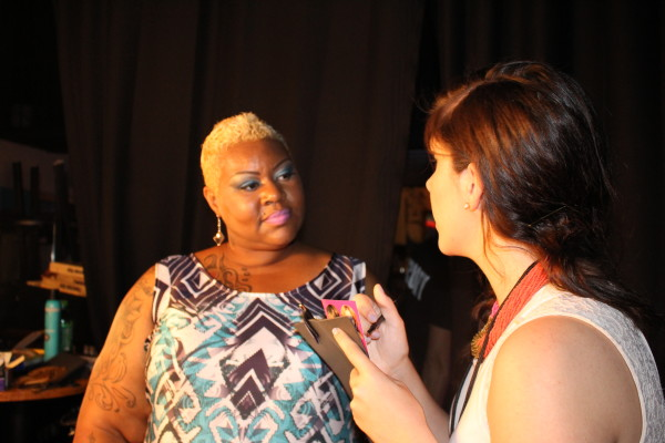 Hairstylist Shug being interviewed by Ana