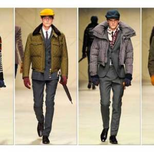 Models in the Burberry Prorsum f/w 2013 show