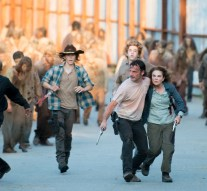Andrew Lincoln as Rick Grimes, Seth Gilliam as Father Gabriel, Danai Gurira as Michonne, Chandler Riggs as Carl Grimes, and Tovah Feldshuh as Deanna - The Walking Dead _ Season 6, Episode 8 - Photo Credit: Gene Page/AMC