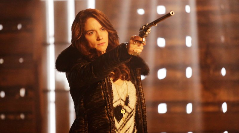 "WYNONNA EARP -- ""Bury Me With My Guns On"" Episode 109 -- Pictured: Melanie Scrofano as Wynonna Earp -- (Photo by: Michelle Faye/Syfy/Wynonna Earp Productions)"