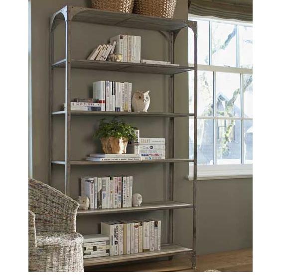 metal-frame bookshelves
