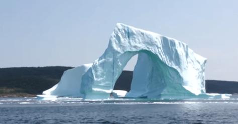 Iceberg collapse in Newfoundland, Canada