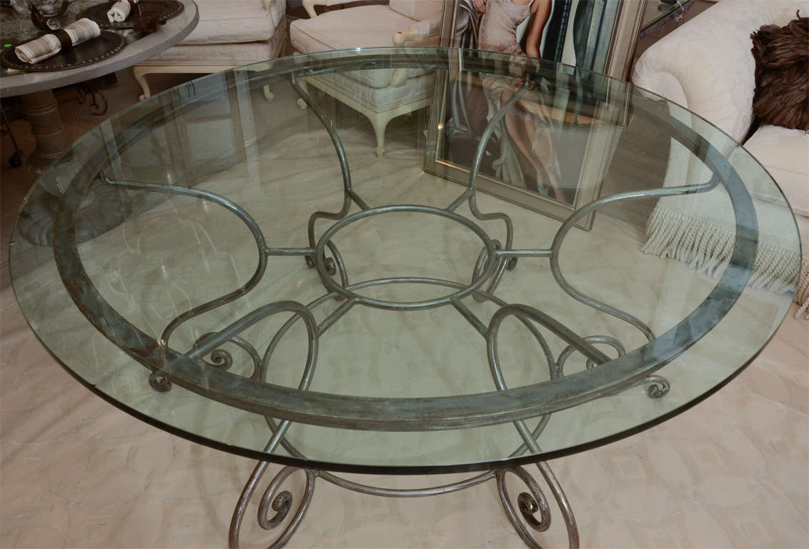 id f glass top kitchen table Round Glass Top Dining Table with Attractive Wrought Iron Base 3
