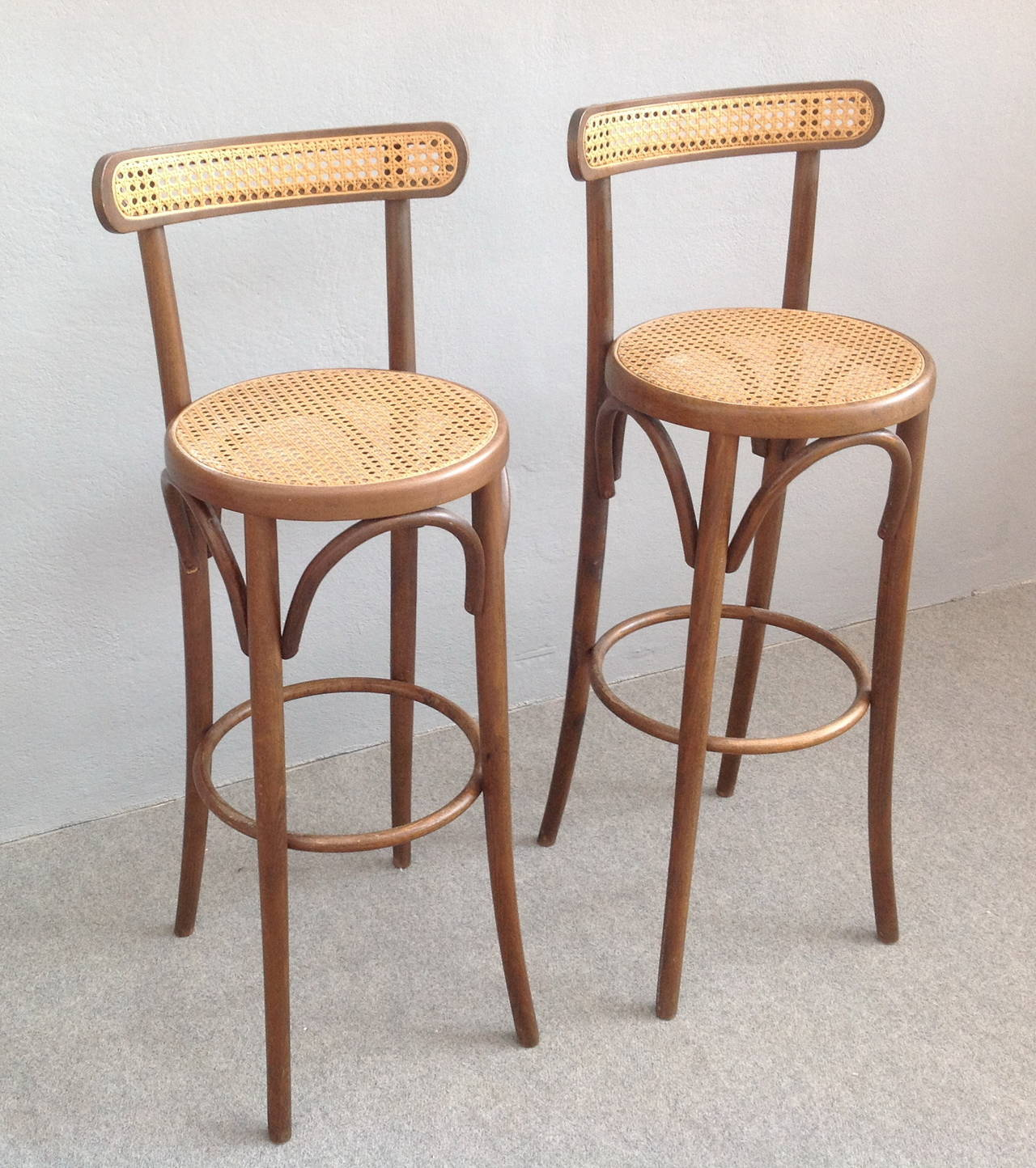 Two Thonet Style Bar Stools Bentwood And Original Cane Seat Back Thonet Stool D82