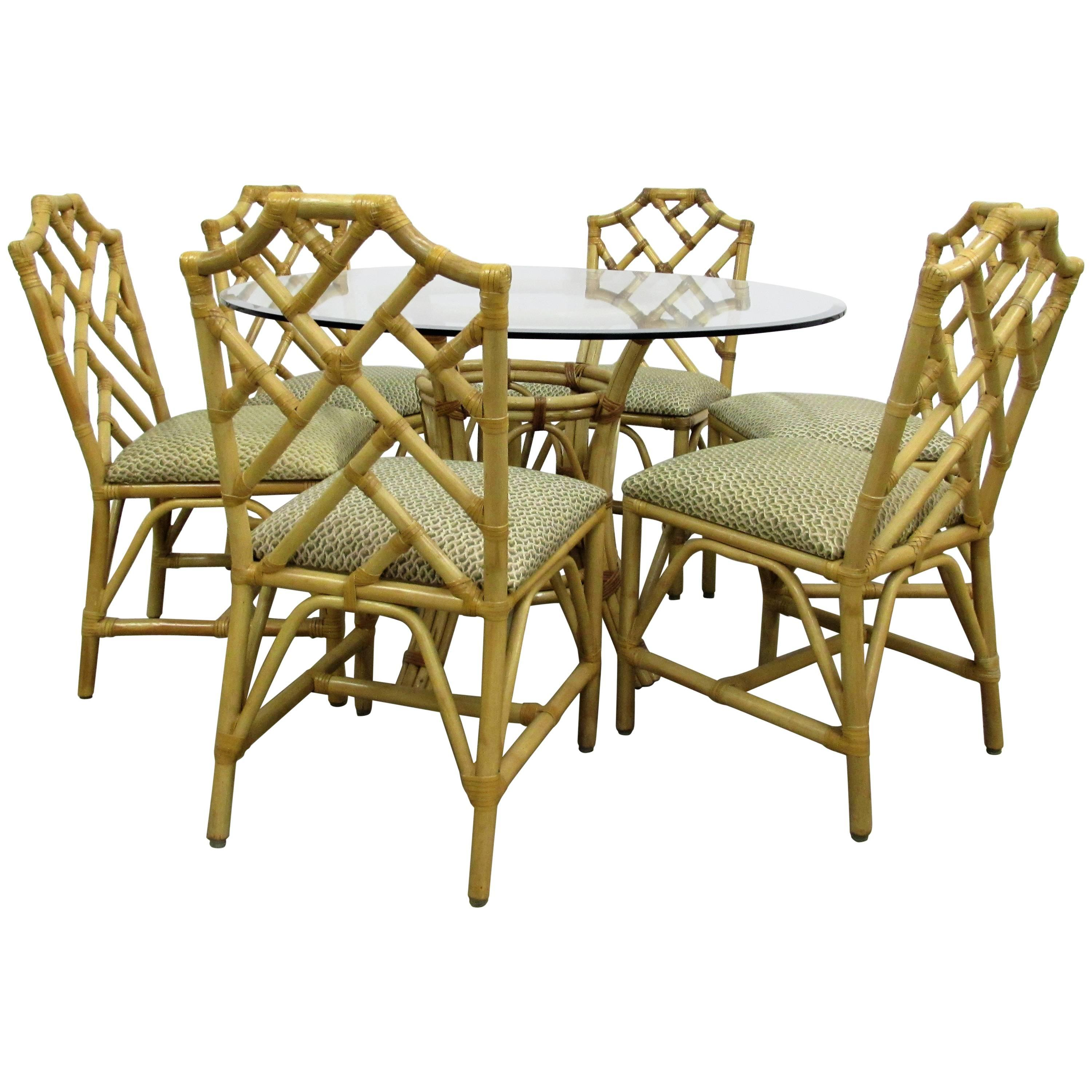 M McGuire Chinese Chippendale Bamboo Rattan Chairs And Round Table Set For  Sale
