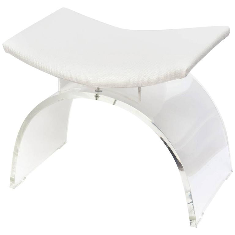 Sculptural Arched Vintage Lucite And Upholstered Vanity Stool Or Bench For  Sale Vanity Bench For Sale 1stDibs0