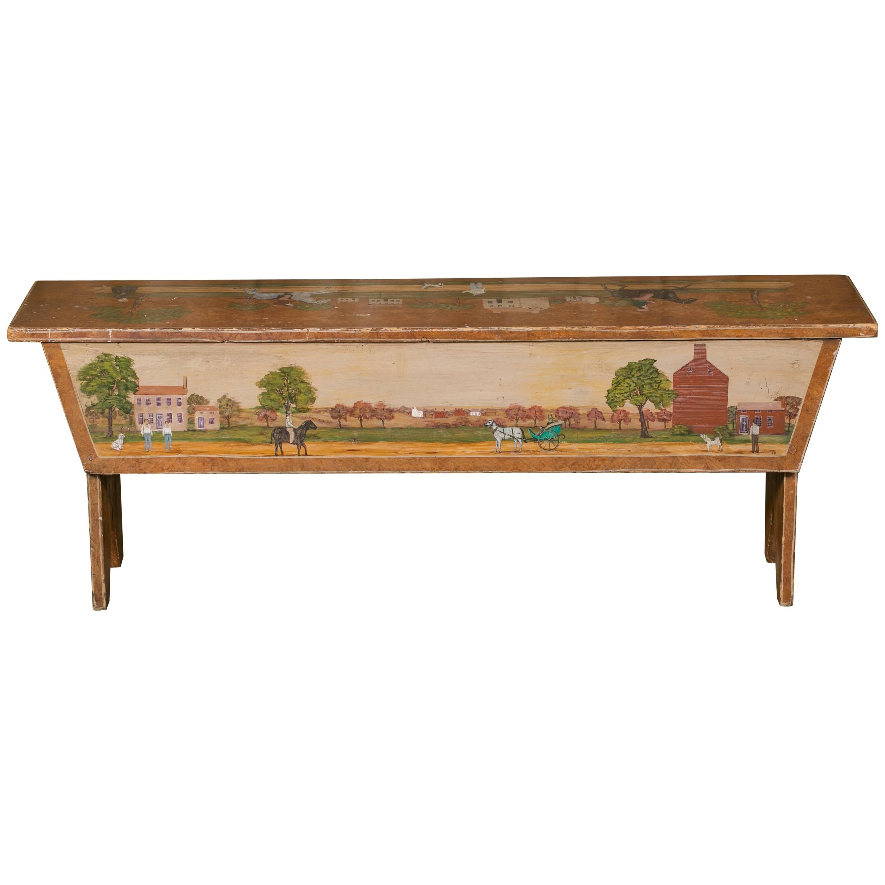 Antique Wooden Bench HandPainted By Artist Lew Hudnall Circa 1890 For Sale Antique Wooden Bench C77