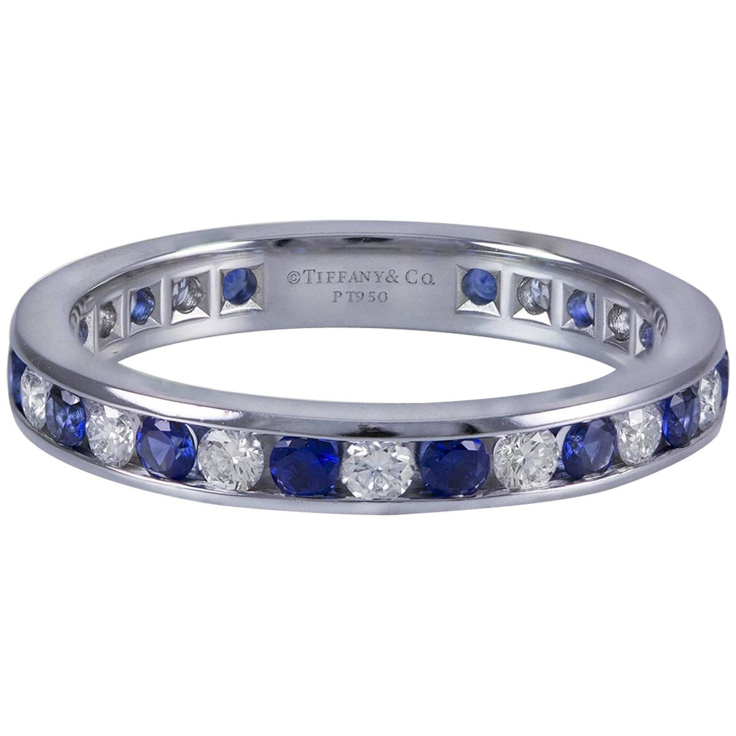 wedding rings sapphire wedding band Sapphire Diamond Platinum Wedding Band Ring