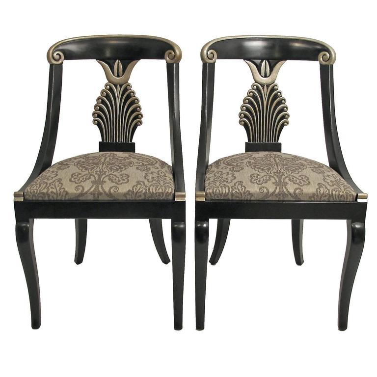 Set Of 4 Hollywood Regency Style Dining Chairs Set Four Regency Style Furniture C60