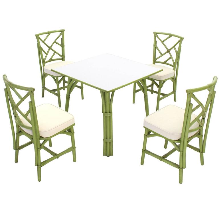 I Square Game Table And Four Chairs Green Faux Bamboo Rattan For Sale
