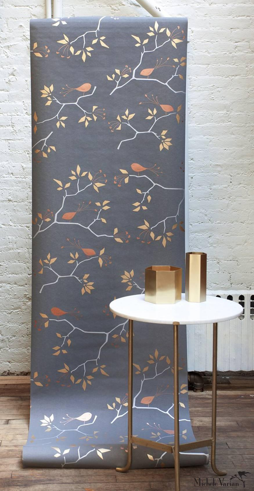 Geobird Screen Printed Wallpaper in Metallic Silver, Gold and Bronze on Graphite For Sale at 1stdibs