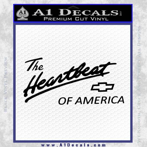 Chevy Heartbeat Of America Decal Sticker Black Vinyl