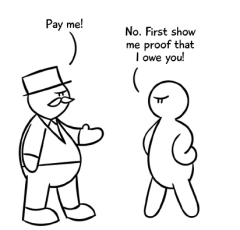 Cartoon, legal self-help, debt collection, show me proof