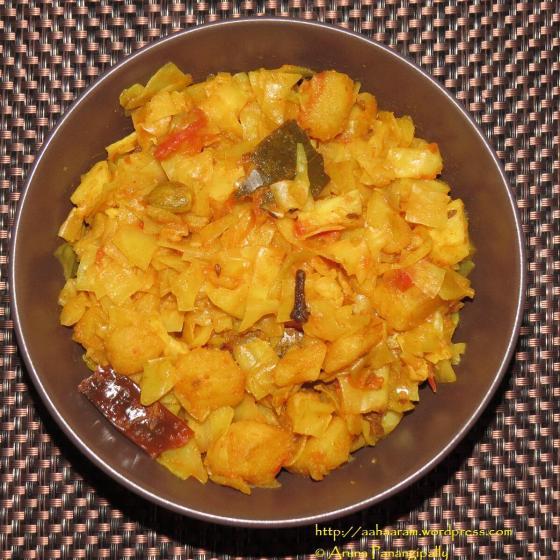 Bandhakopir Torkari (Bengali Cabbage, Peas and Potato Curry)