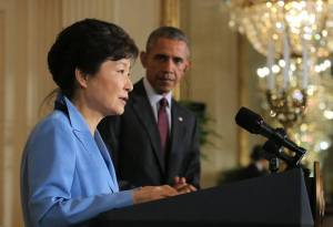 Republic of Korea President Park Geun-hye addresses questions from media at the White House on Friday with President Barack Obama. (Cheung Wa Dae photo)
