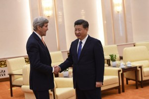 U.S. Secretary of State John Kerry, left, shakes hands with Chinese President Xi Jinping at the Great Hall of the People in Beijing, China, on January 27, 2016, amid a series of discussions with high-level Chinese officials focused on the Democratic People's Republic of Korea and other regional issues. [State Department Photo/Public Domain]