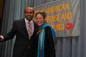 AALDEF 2016 Justice in Action Award emcees Sree Sreenivasan, left, and Cindy Hsu (Photo by Corky Lee)