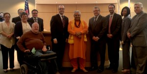 Rajan Zed with Rockford Mayor Lawrence J. Morrissey and other council members just before its first historic Hindu invocation.